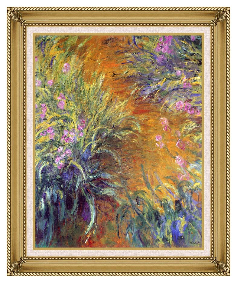 Claude Monet The Path Through the Irises with Gallery Gold Frame w/Liner