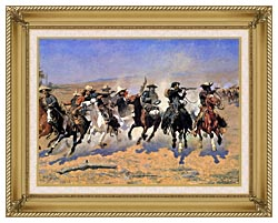 Frederic Remington A Dash For The Timber Detail canvas with gallery gold wood frame