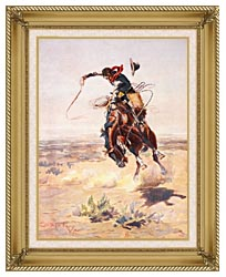 Charles Russell A Bad Hoss canvas with gallery gold wood frame