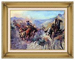 Charles Russell A Mix Up canvas with gallery gold wood frame