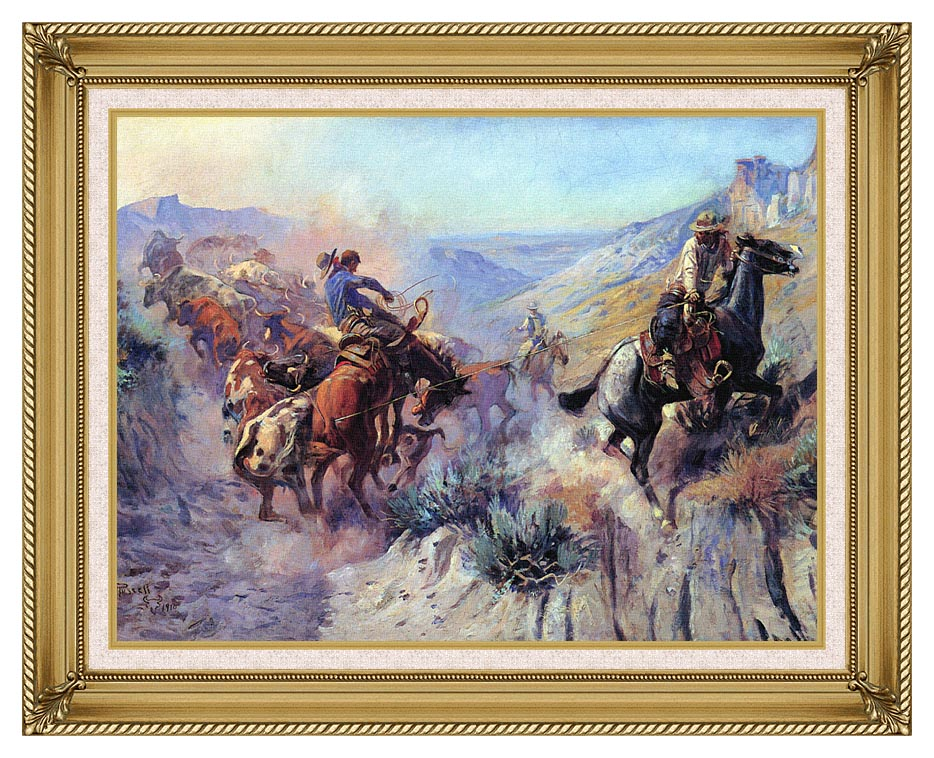 Charles Russell A Mix Up with Gallery Gold Frame w/Liner