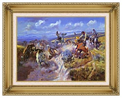 Charles Russell A Tight Dally And Loose Latigo canvas with gallery gold wood frame