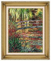 Claude Monet Water Garden And Japanese Footbridge canvas with gallery gold wood frame