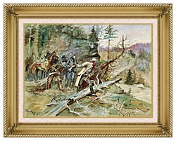 Charles Russell Big Nose George And The Road Agents canvas with gallery gold wood frame