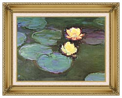 Claude Monet Green Water Lilies canvas with gallery gold wood frame
