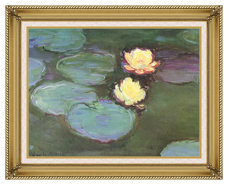 Claude Monet Green Water Lilies with Gallery Gold Frame w/Liner