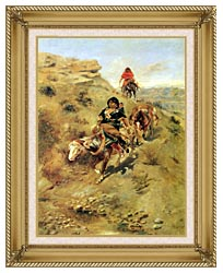 Charles Russell Bringing Home The Meat canvas with gallery gold wood frame