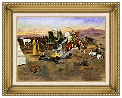 Charles Russell Bronc In Cow Camp canvas with gallery gold wood frame