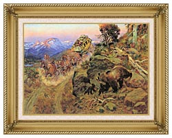 Charles Russell Bruin Not Bunny Turned The Leaders canvas with gallery gold wood frame