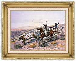 Charles Russell Buccaroos canvas with gallery gold wood frame