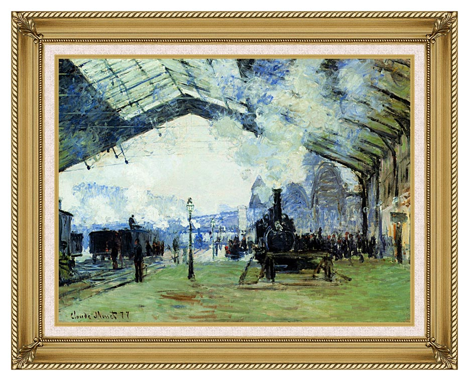 Claude Monet Arrival of the Normandy Train with Gallery Gold Frame w/Liner