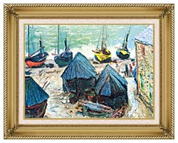 Claude Monet Boats In Winter Quarters canvas with gallery gold wood frame