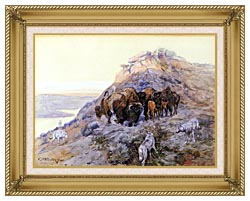 Charles Russell Buffalo Herd At Bay canvas with gallery gold wood frame