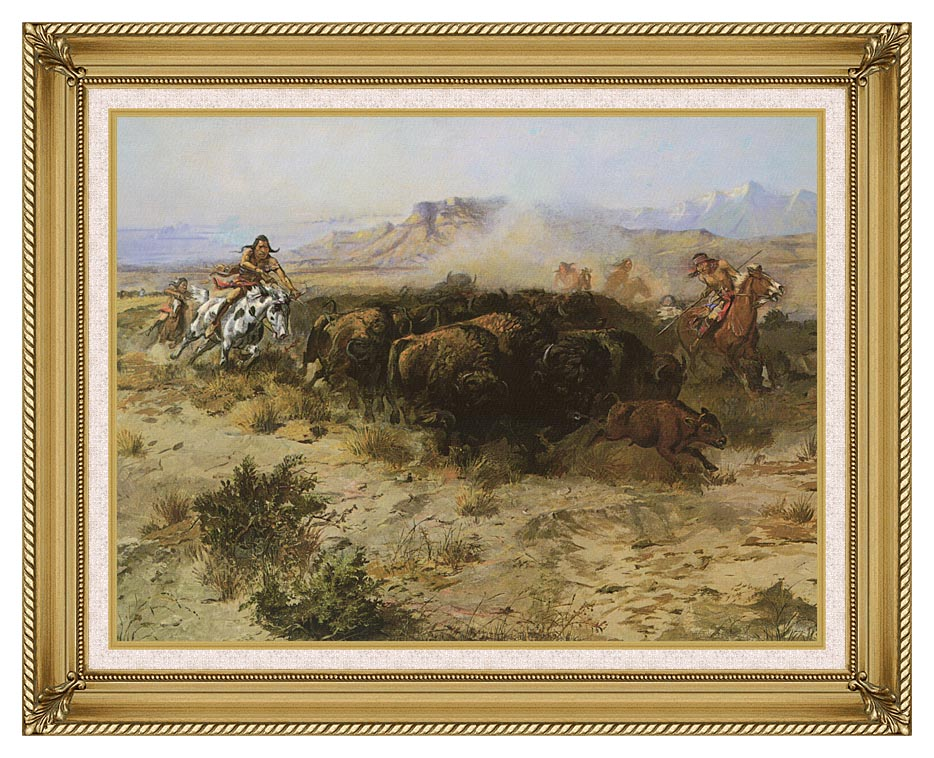 Charles Russell Buffalo Hunt No. 26 with Gallery Gold Frame w/Liner