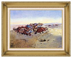 Charles Russell Caught In The Circle canvas with gallery gold wood frame