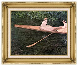 Claude Monet In A Canoe On The Epte River canvas with gallery gold wood frame