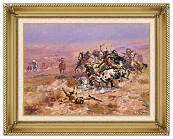 Charles Russell Counting Coup canvas with gallery gold wood frame