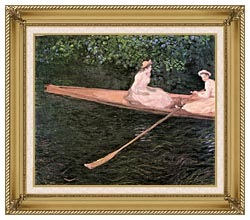 Claude Monet A Canoe On The Epte River canvas with gallery gold wood frame