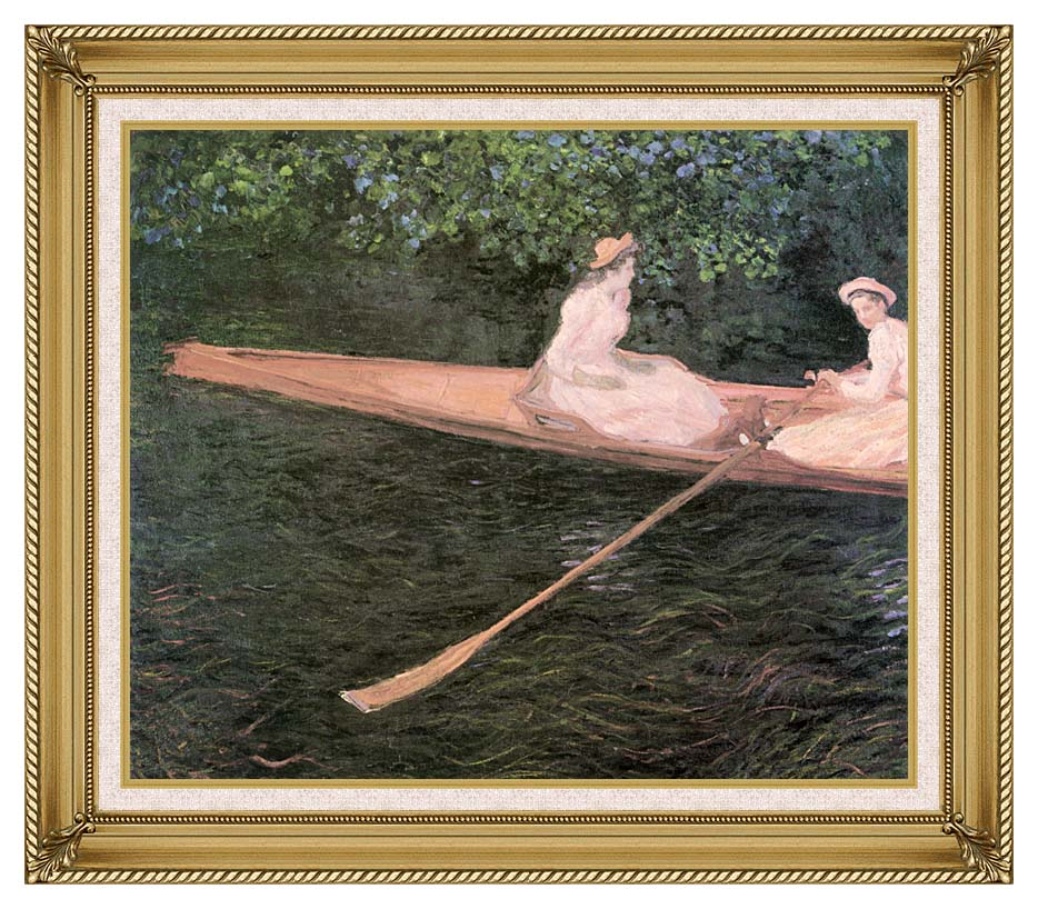 Claude Monet A Canoe on the Epte River with Gallery Gold Frame w/Liner
