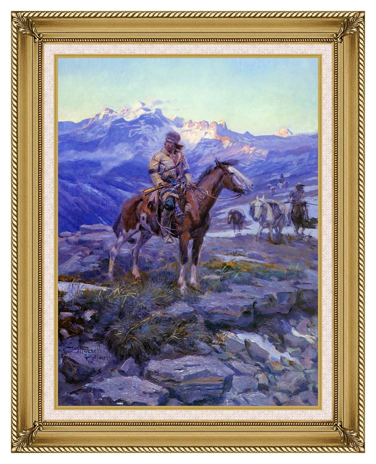 Charles Russell Free Trappers with Gallery Gold Frame w/Liner