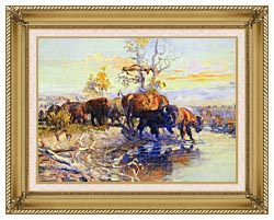 Charles Russell His Heart Sleeps canvas with gallery gold wood frame