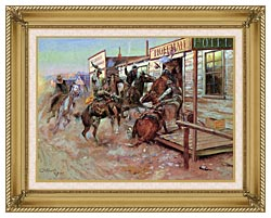 Charles Russell In Without Knocking canvas with gallery gold wood frame