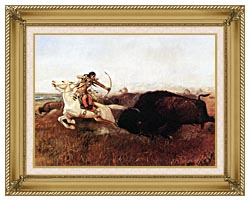 Charles Russell Indians Hunting Buffalo canvas with gallery gold wood frame