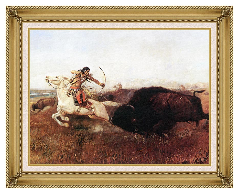Charles Russell Indians Hunting Buffalo with Gallery Gold Frame w/Liner