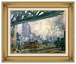 Claude Monet Outside View Of The Normandy Line canvas with gallery gold wood frame