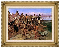 Charles Russell Lewis And Clark Expedition Meeting With Indians canvas with gallery gold wood frame