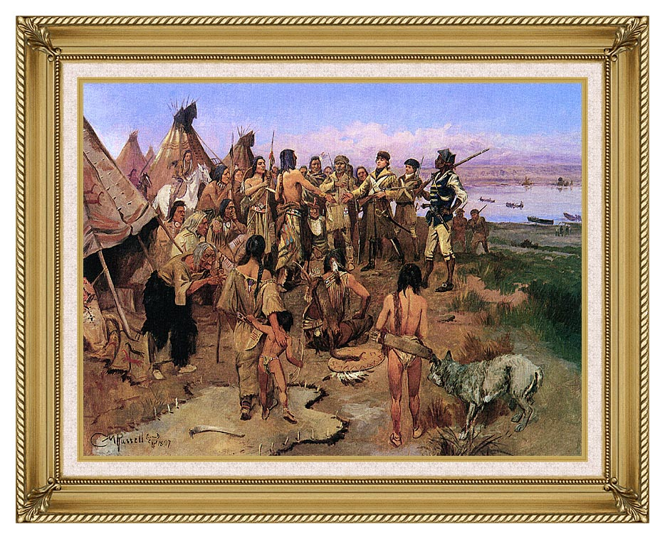 Charles Russell Lewis and Clark Expedition Meeting with Indians with Gallery Gold Frame w/Liner