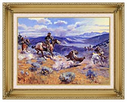 Charles Russell Loops And Swift Horses Are Surer Than Lead canvas with gallery gold wood frame