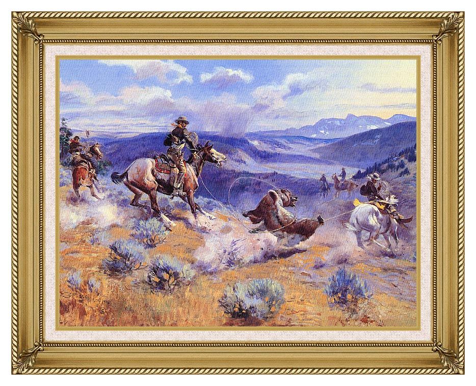 Charles Russell Loops and Swift Horses are Surer than Lead with Gallery Gold Frame w/Liner