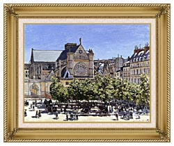Claude Monet Saint Germain Lauxerrois canvas with gallery gold wood frame