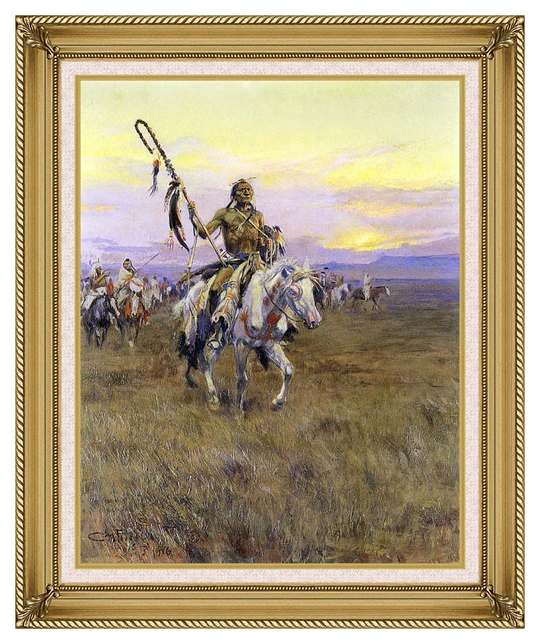 Charles Russell Medicine Man with Gallery Gold Frame w/Liner