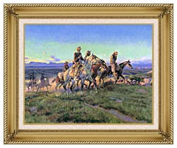 Charles Russell Men Of The Open Range Detail canvas with gallery gold wood frame