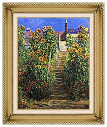 Claude Monet Steps At Vetheuil canvas with gallery gold wood frame