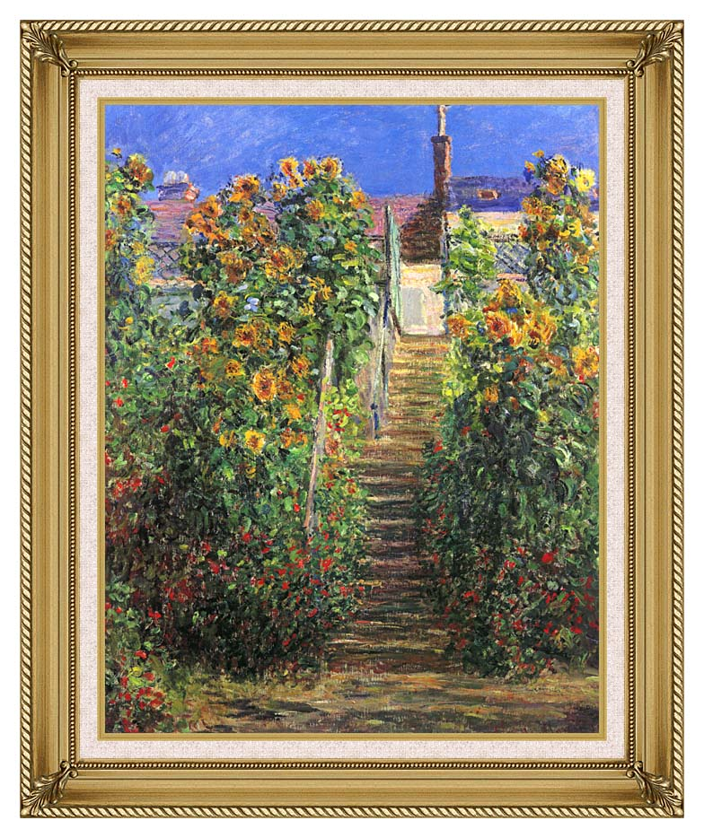 Claude Monet Steps at Vetheuil with Gallery Gold Frame w/Liner