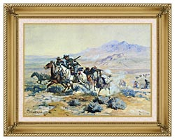Charles Russell On The Attack canvas with gallery gold wood frame