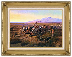 Charles Russell Returning To Camp canvas with gallery gold wood frame