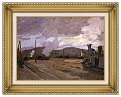 Claude Monet The Gare Dargenteuil canvas with gallery gold wood frame