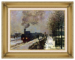 Claude Monet The Locomotive In Snow canvas with gallery gold wood frame