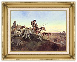 Charles Russell Seeking New Hunting Grounds canvas with gallery gold wood frame