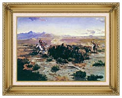 Charles Russell The Buffalo Hunt canvas with gallery gold wood frame