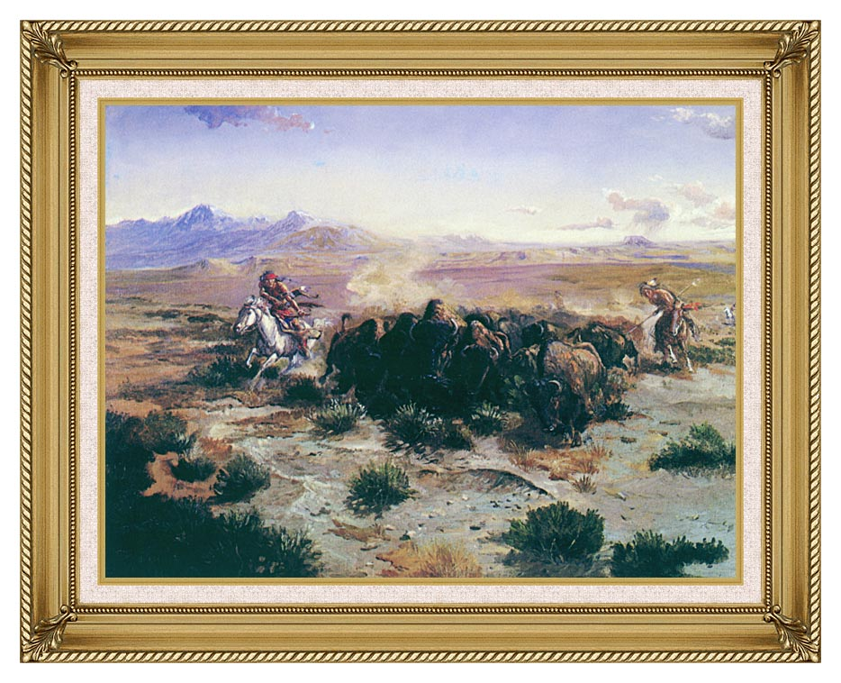 Charles Russell The Buffalo Hunt with Gallery Gold Frame w/Liner
