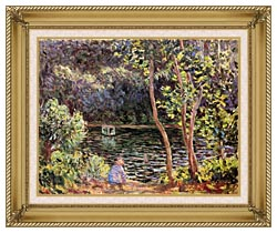 Claude Monet Studio Boat On The Seine River canvas with gallery gold wood frame