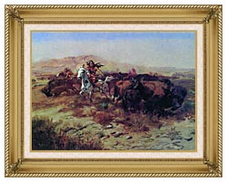 Charles Russell The Buffalo Hunt Wild Meat For Wild Men canvas with gallery gold wood frame