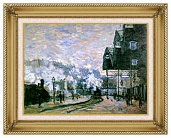 Claude Monet The Western Region Goods Sheds canvas with gallery gold wood frame