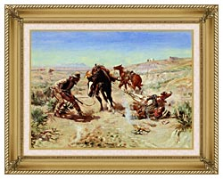 Charles Russell The Cinch Ring canvas with gallery gold wood frame