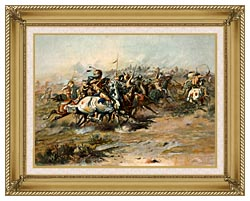 Charles Russell The Custer Fight canvas with gallery gold wood frame
